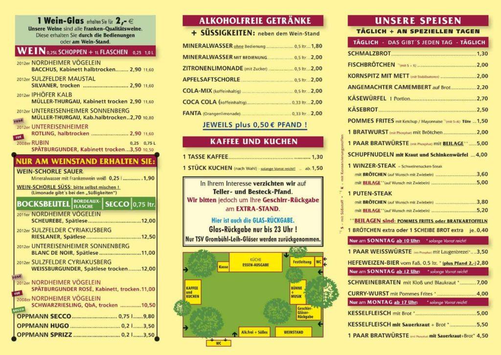Speise- und Getränkekarte Weinfest in Grombühl