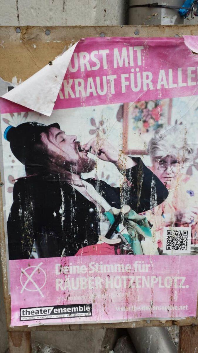 """""""Bratwurst mit Sauerkraut für alle!"""" Wahlplakat vom Räuber Hotzenplotz"""