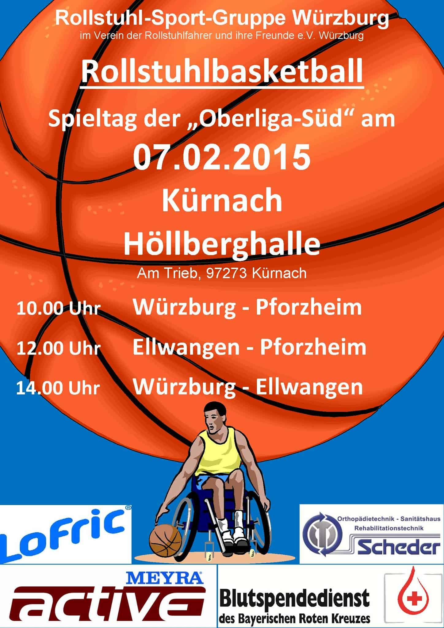 Rollstuhlbasketball in Kürnach, 7.2.15