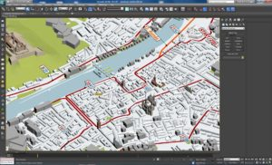Würzburg in 3D-Daten in 3ds Max.Screenshot 3DBetrieb