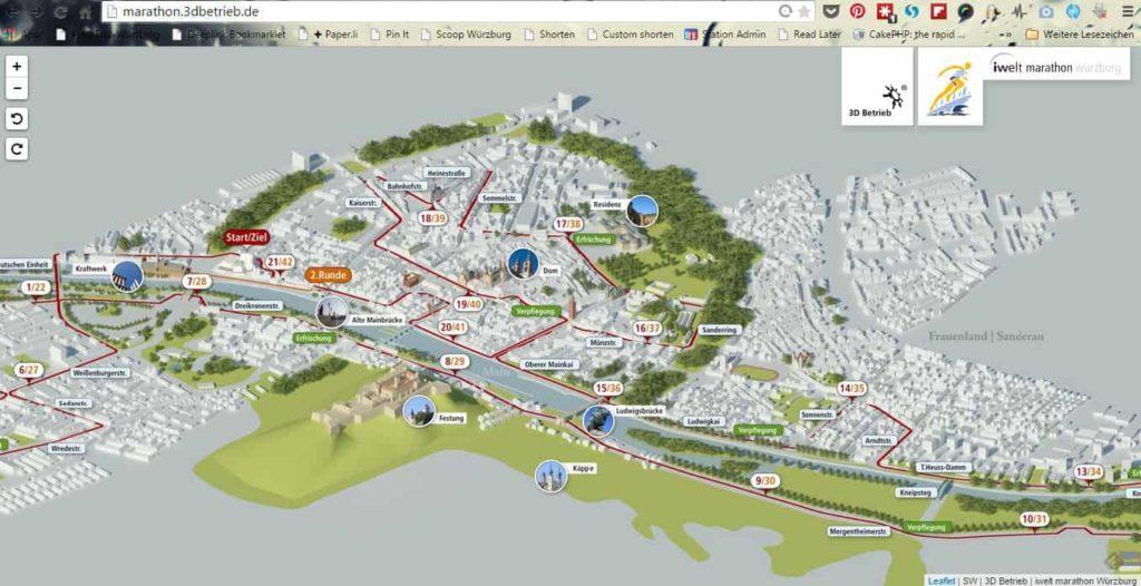 Die Laufstecke des Würzburger Marathons im Browser.