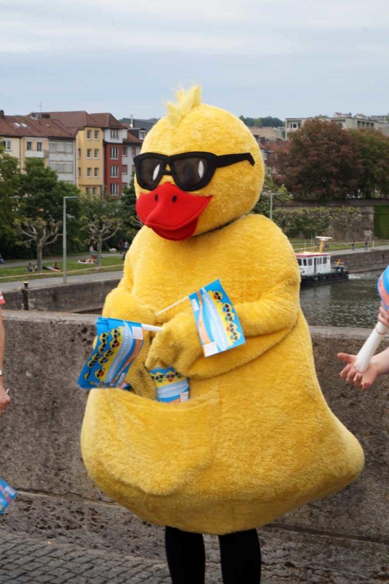 Mal eine große Ente auf der Alten Mainbrücke