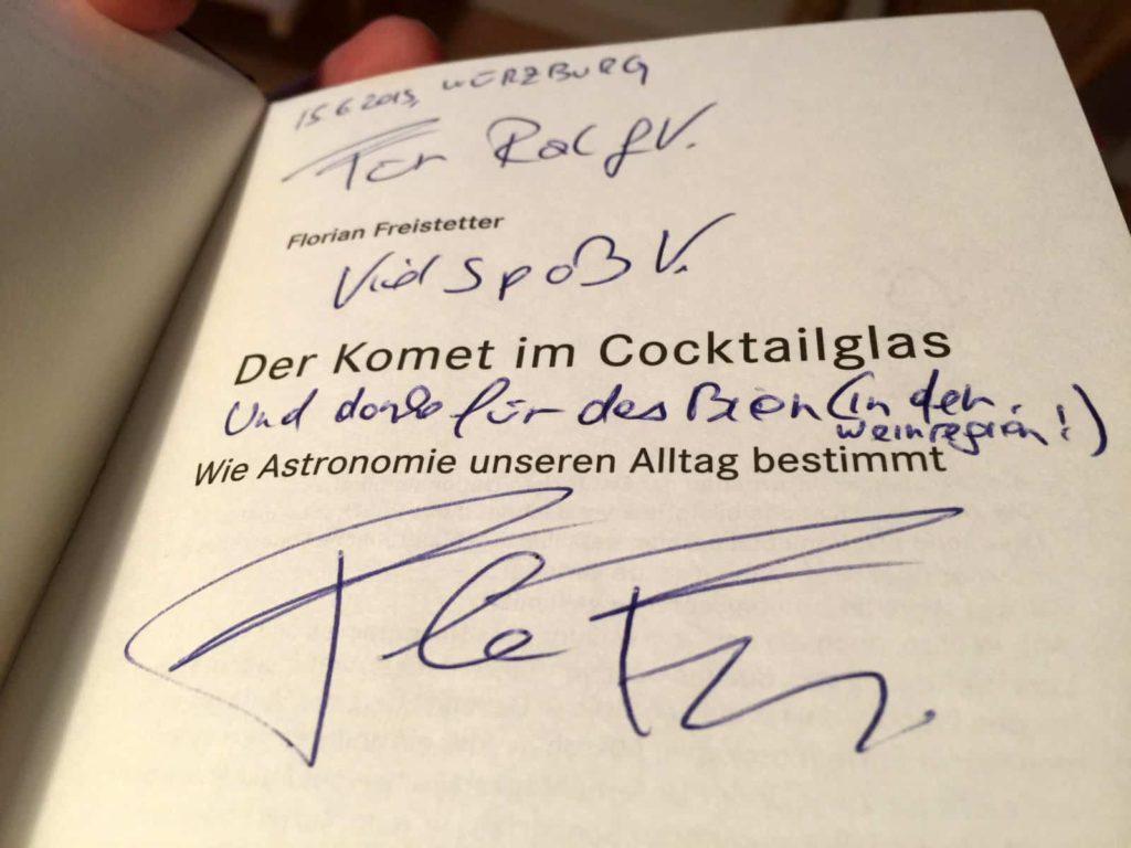 """Widmung von Florian in mein Exemplar von """"Der Komet im Cocktailglas"""""""
