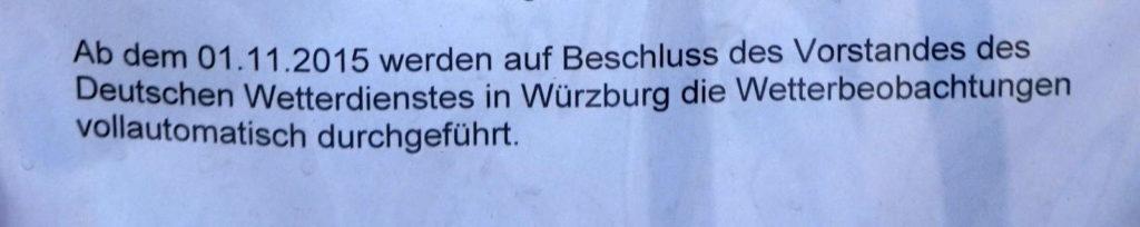 Ankündigung Wetterwarte Würzburg
