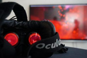 Rote Blutkörperchen im Herz - dargestellt im virtuellen Raum mit einer 3D-Brille (eine Oculus Rift)
